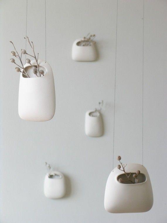 Small Hanging Vertical Pod Wall Vase: Plants Can, Wall Vase, Hanging Plants, Hanging Flowers, Interiors Design, Hanging Vase, Hanging Planters, Wendy Jung, Hanging Pots