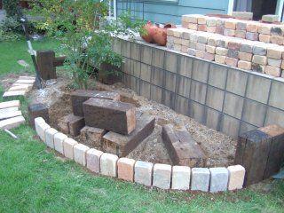 DIY庭造り レンガと枕木の花壇