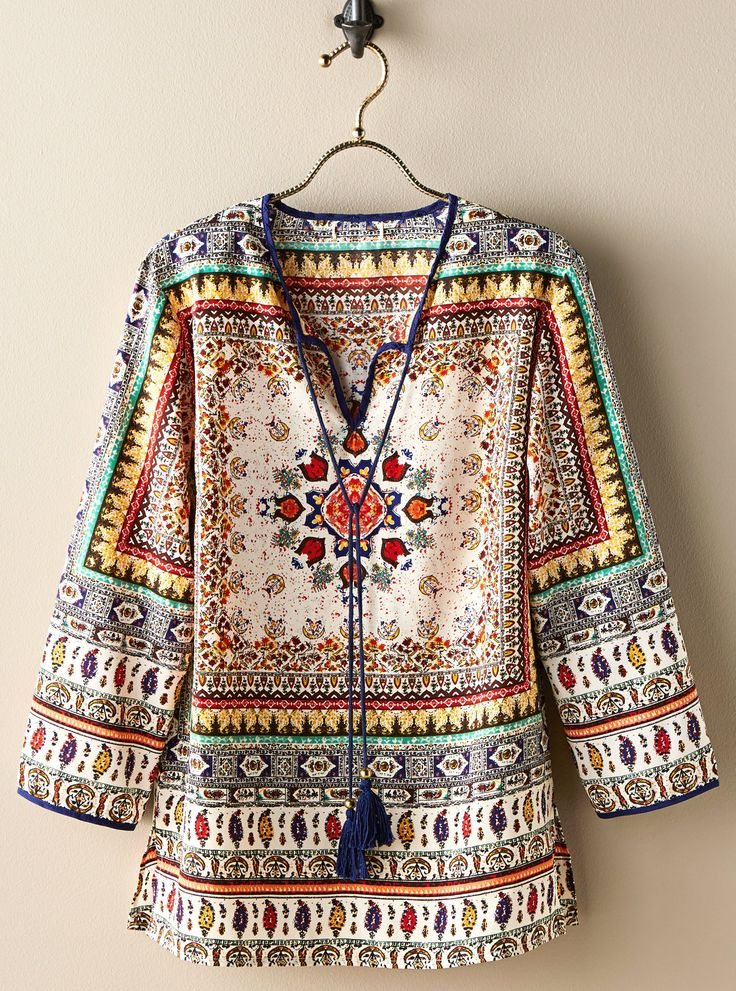 This blouse celebrates the legacy of cross-cultural exchange made possible by the Silk Road. Paisley Mandala Indian Tunic | National Geographic Store