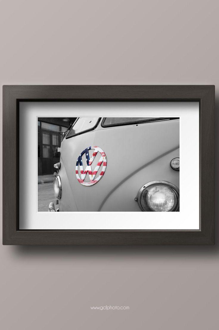 Wall art decor living room pictures - vintage VW Camper with American flag car photography prints. Click now for options and more details. #AmericanFlag #StarsandStripes #VWCamper #VW #VWBus #artprints #artprintsforsale
