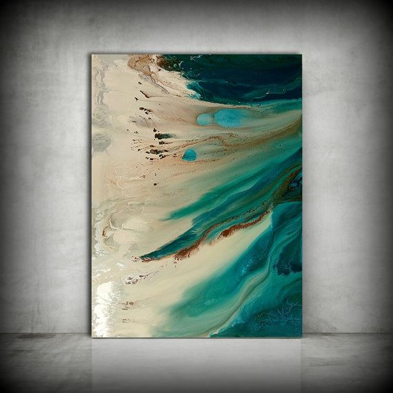 Kunst Malerei, ORIGINAL Gemälde, Acrylmalerei abstrakte Malerei, Küsten Malerei, Extra große Wandkunst, Küsten Inneneinrichtungen 36 x 48