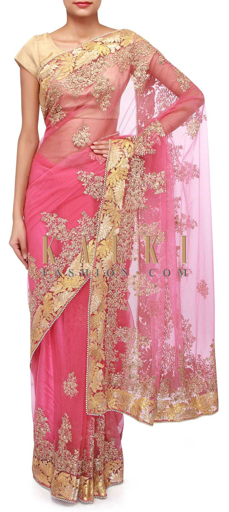 Buy Online from the link below. We ship worldwide (Free Shipping over US$100). Product SKU - 273500. Product Link - http://www.kalkifashion.com/pink-net-saree-adorn-in-gotta-patti-only-on-kalki.html