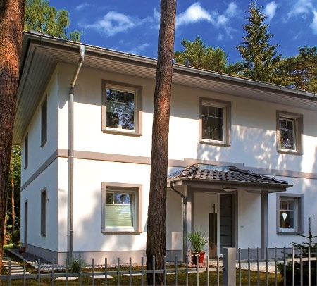 Mediterrane moderne stadtvilla bauen mit garage und for Villa modern bauen