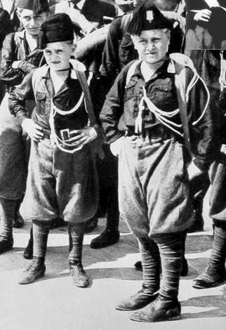 Bruno and Vittorio Mussolini, sons of The Man Himself, in boy Blackshirt gear.