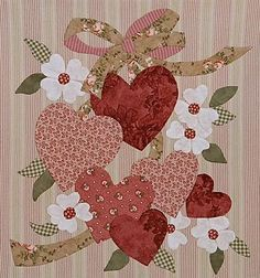 Corações para Valentine, projetado para quilting applique mas seria ótimo em lã.