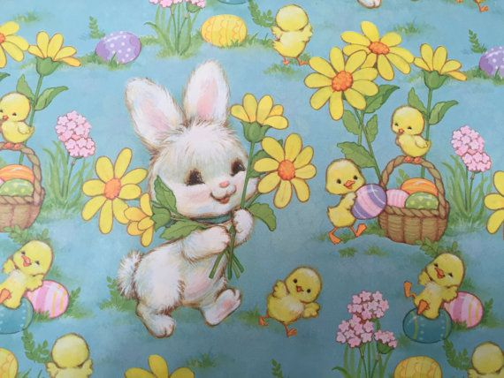 87 best easter background frames images on pinterest easter vintage gift wrapping paper floral happy easter paper easter bunny chicks eggs by hallmark 1 unused full sheet easter gift wrap negle Image collections