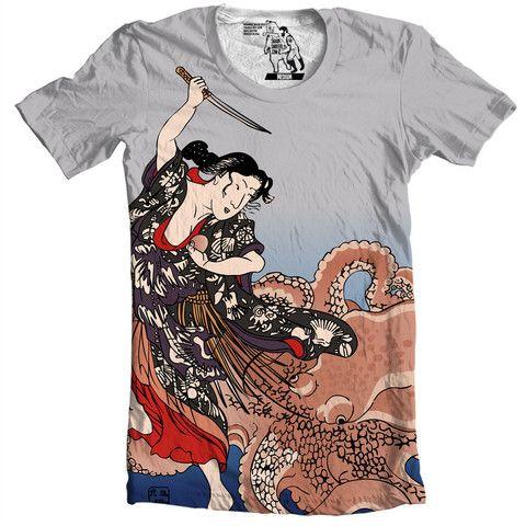 Battling the Octopus T-shirt - Man Cave Ideas  - 1