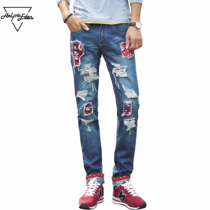 Fashion Blue Ripped Jeans Men Straight Slim Denim Trousers Cartoon Print Retro Casual Biker Jeans Home