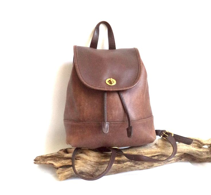 COACH Vintage Brown Leather Turnlock Bag Backpack Bucket Drawstring Shoulder Bag #9791 Organizer Purse, Coach Bag, Back Pack, Gift, Vintage by MushkaVintage3 on Etsy