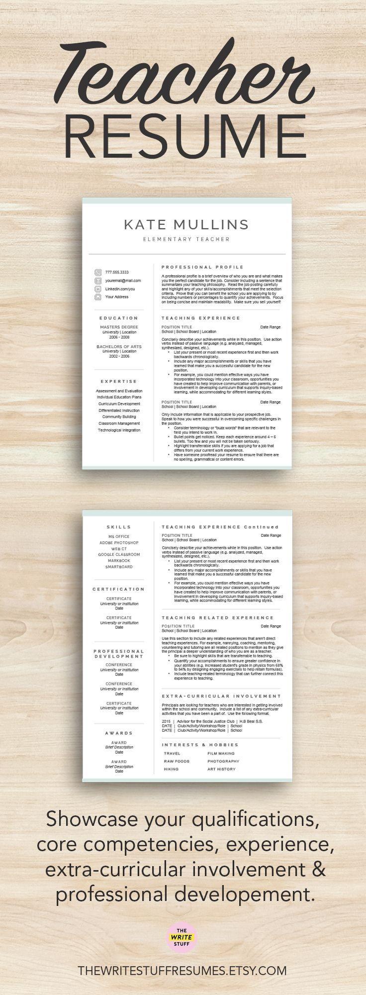 A resume designed for teachers and educators | teacher resume | educator resume | teacher resume tips | curriculum vitae