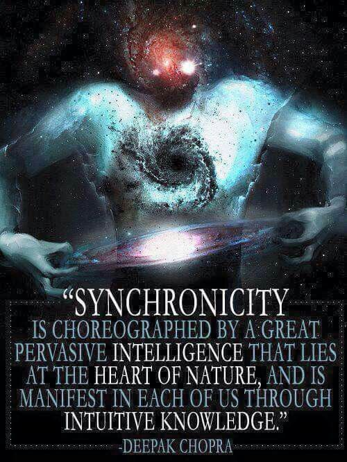 Synchronicity is choreographed by great pervasive intelligence that lies at the heart of nature, and is manifest in each of us through intuitive knowledge. - Deepak Chopra