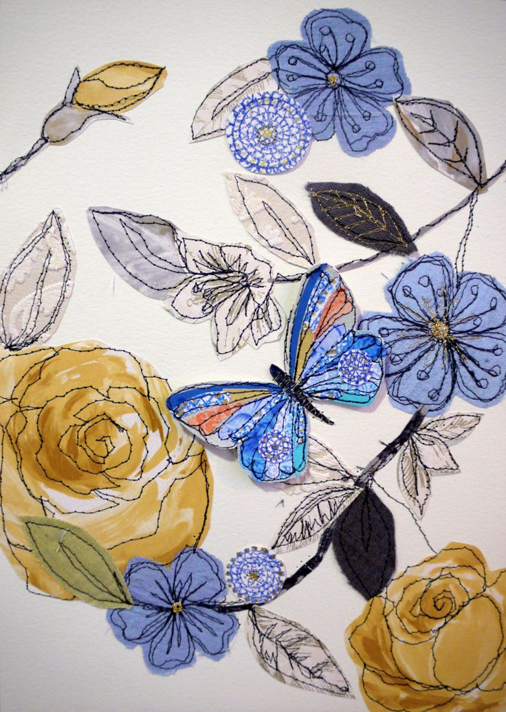 Rose Garden stitched mixed media-butterfly