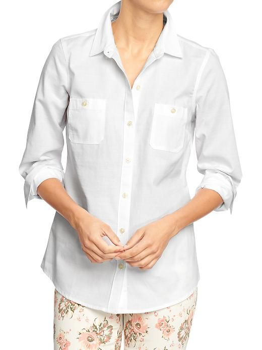 Classic Old Navy | Women's Slub-Weave Oxford Shirts