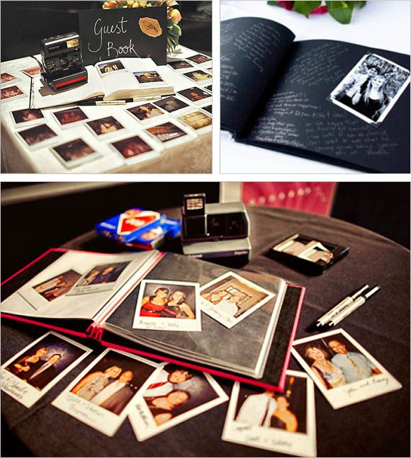 A great idea for any wedding, the Polaroid Wedding Guest Book! :) Guests take a photo, stick it in the book, and leave a nice little message for the lucky newlyweds ;)