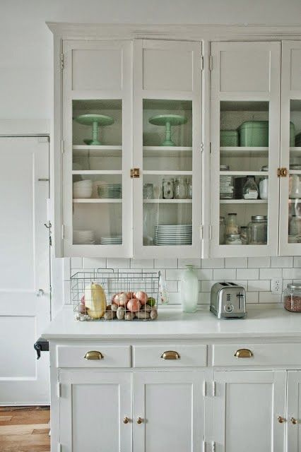 I Love Everything About This Kitchen. Love The White Cabinets, Glass Door  Fronts, Latch Hardware On The Upper Cabinets, Office Style Pulls On The  Lower ...