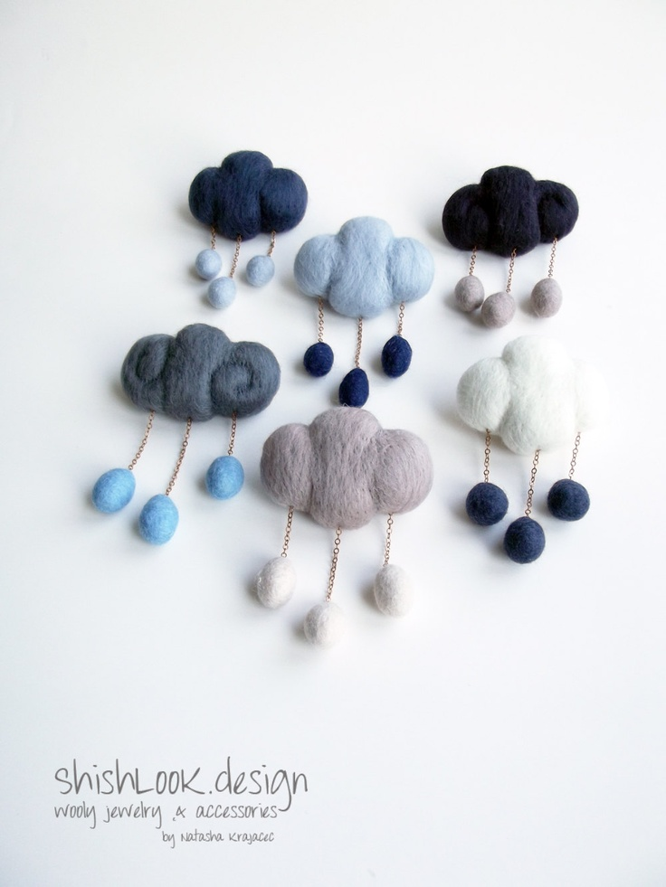 Rain Cloud, Weather Jewelry, Felted Brooch,Hand Felted Cloud ,Silver Grey & Navy Blue. - ShishLOOKdesign