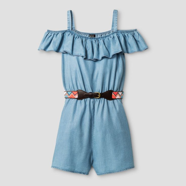 Girls' Zenzi Ruffle Neck Cold Shoulder Tencel Romper with Aztec Print Faux Leather Belt - Blue 12