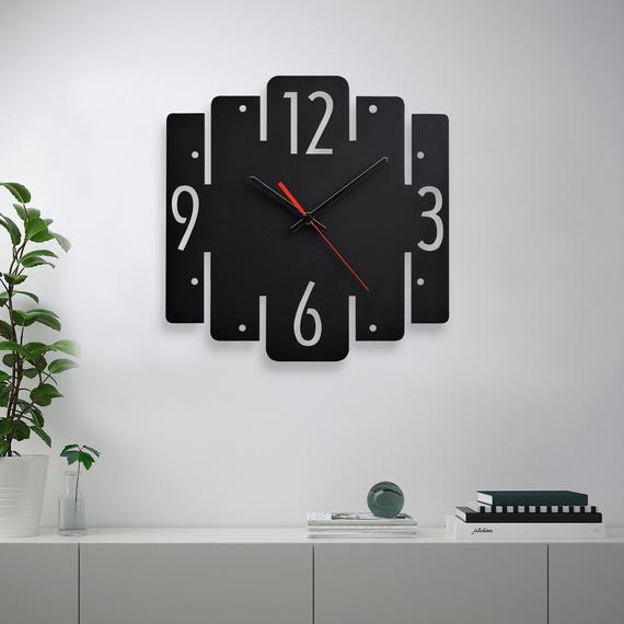 Modern Wall Clock Black Kitchen Wall Clock Rustic Wall Clock Etsy In 2020 Minimalist Wall Clocks Contemporary Wall Clock Wall Clock Modern