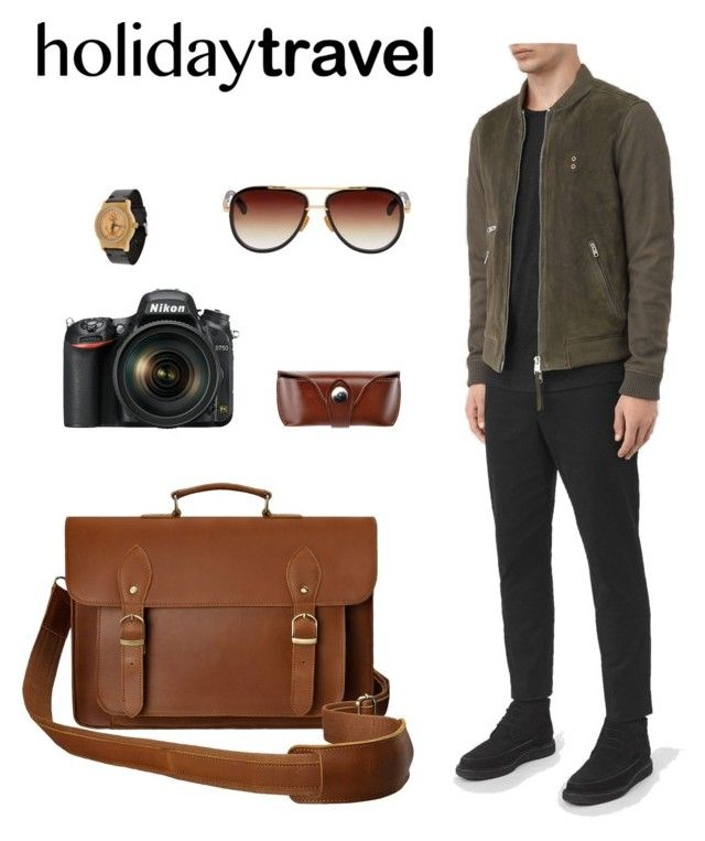 """Holiday Travel Fashion"" by hallomall ❤ liked on Polyvore featuring AllSaints, Dita, men's fashion and menswear"