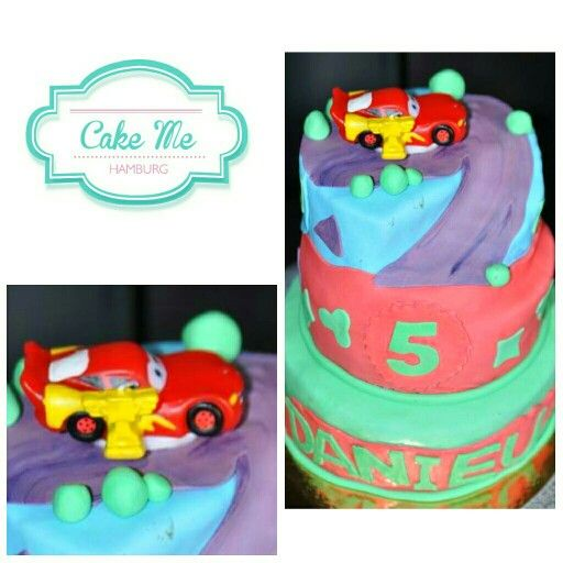 Colorful cars cake out of fondant