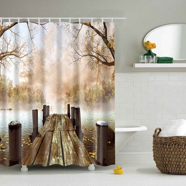 1634 nature landscape bridge waterproof shower curtain