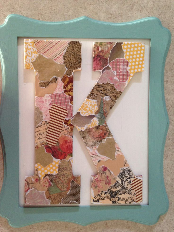 Modge podge scrapbook paper on wood letter, discount frame, remove glass and hot glue on background painted