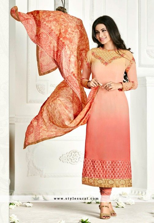 Mouni Roy Outstanding Shaded Salmon Pink Color Georgette Salwar Suit