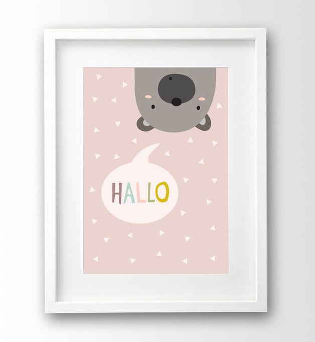 Digitaldruck - Hallo Bär Kinderzimmer Bild, Kinderposter - ein Designerstück von nanamiadesign bei DaWanda