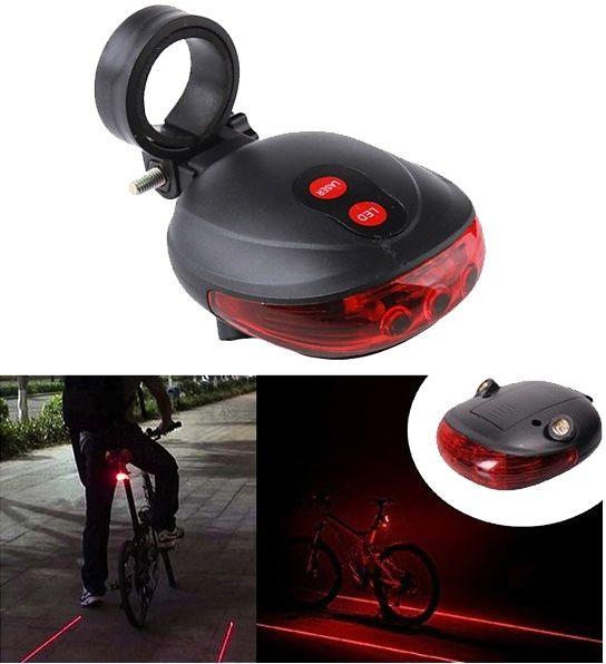 Biztonsági lézeres lámpa kerékpárra, de akár robogóra is felszerelhető. Az 5 ledes hátsó lámpa kialakításánál végre figyelembe vették a kerékpárok jellemzőit. A biztonságot szem előtt tartva 3 db LED hátra, 2 db LED a két oldalra világít, ami nagyon fontos a láthatóság miatt.