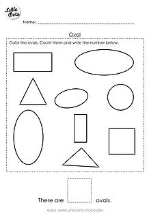 Free oval shape worksheet for pre-k. You will find the download link at