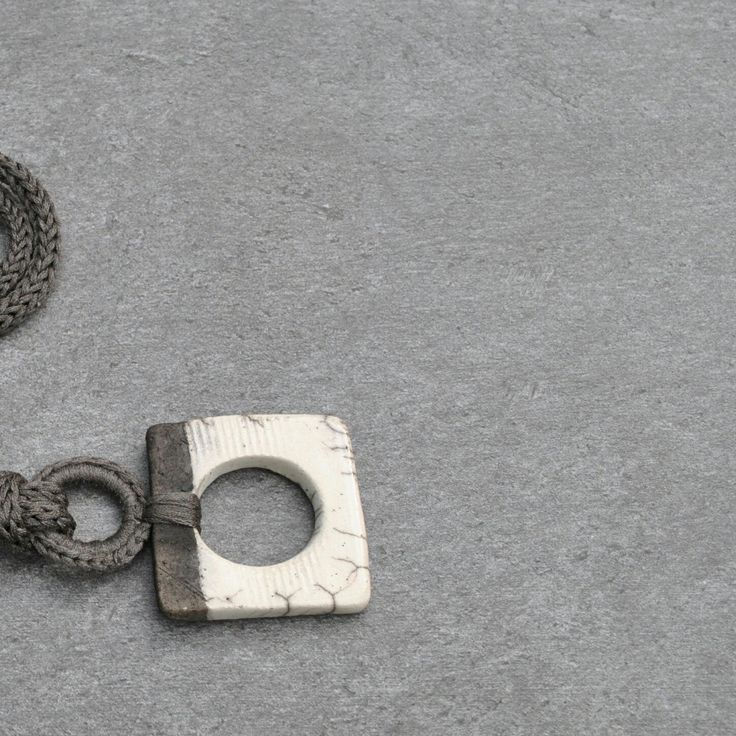 Square Raku Ceramic Pendant. Details. New Aliquid Ceramic Collection.