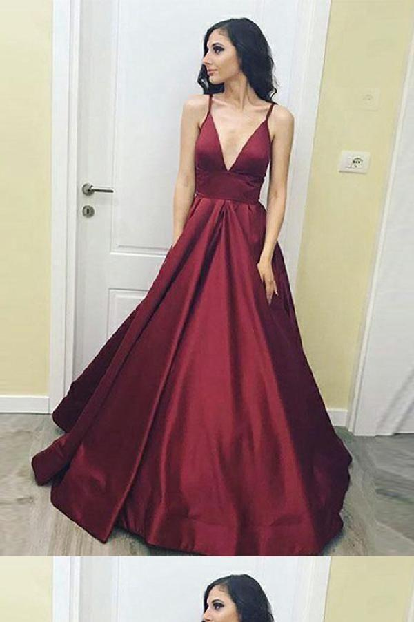 ca288cde7682 Burgundy Prom Dress, V Neck Prom Dress, Prom Dress V-neck, Prom Dress Long,  A-Line Prom Dress #V #Neck #Prom #Dress #Vneck #ALine #Burgundy #Long ...