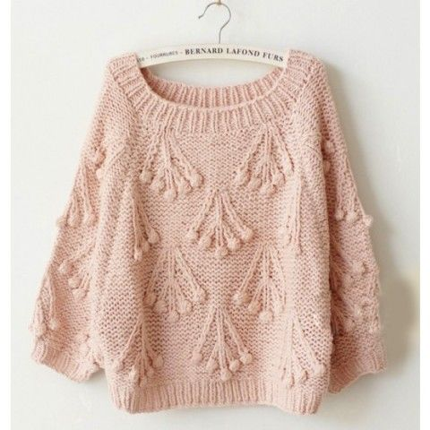 Sweat Color Round Neck Chunky Knit Vivid Cherry Sweater - Sweaters - Sweaters…
