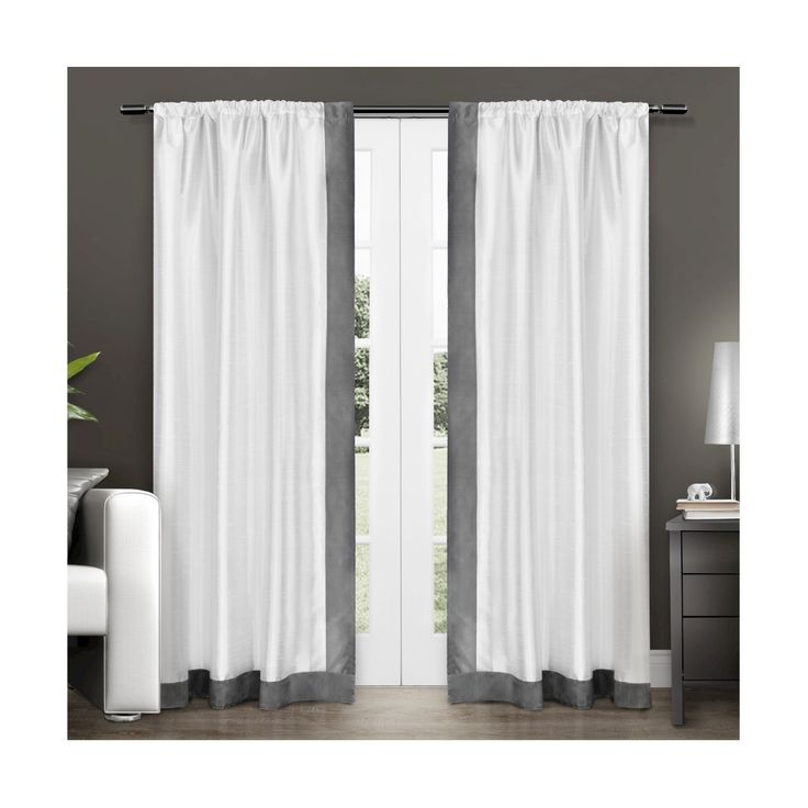 "• 54""Wx84""L                                                                                                                             <br>• 100% polyester                                                                                                                      <br>• Sewn-in rod pocket for easy hanging<br><br>Contemporary chic sums up the look of this Exclusive Home Set of 2 Grammercy Bordered Faux Silk Curtain Panels. T..."