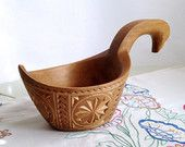 Large Traditional Water Ladle Handmade From Solid Linden Wood With Carving Decoration - country decor, cottage chic, wood ladle