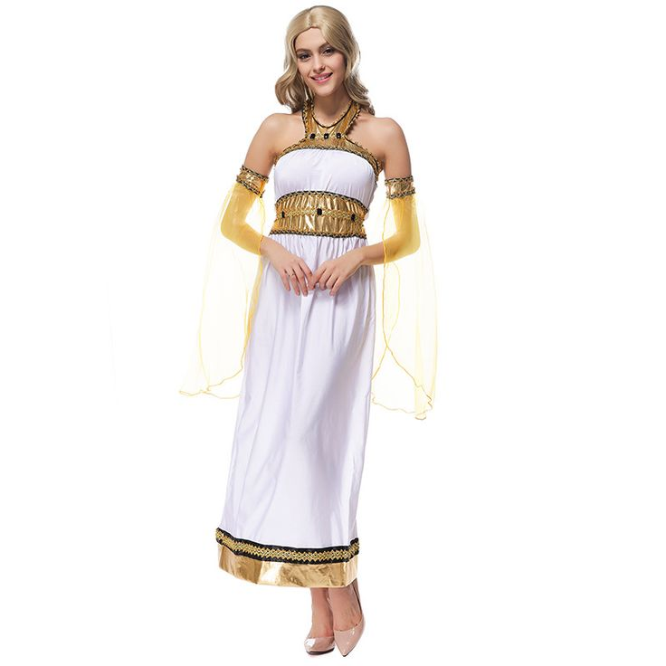 Women's White Sexy Goddess Arab Princess Dress For Halloween Costumes Cleoptra Queen Cosplay Size M XL