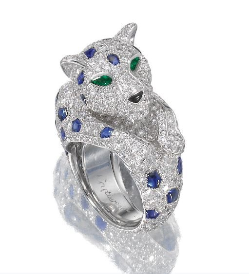 cartier biennale ring   Sapphire and diamond ring, 'Panthère', Cartier