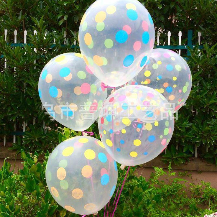 New 10 cái/lô 12 inch Rõ Ràng Trong Suốt Chấm Màu In Latex Bi Chúc Mừng Món Quà Sinh Nhật Đồ Chơi Thổi Phồng Bóng Không Khí