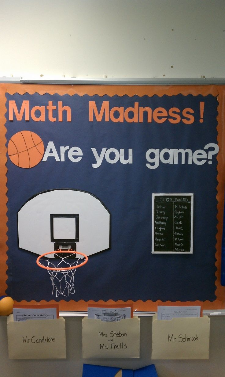 I used this board to practice PSSA math skills during March and connected it with basketball and March Madness. At the end of each week students shot one basket for each math page they completed correctly. The leader in points each week won a prize. I had 3 pages per student and 1 bonus available each week. The pages were based on the students individual  math levels