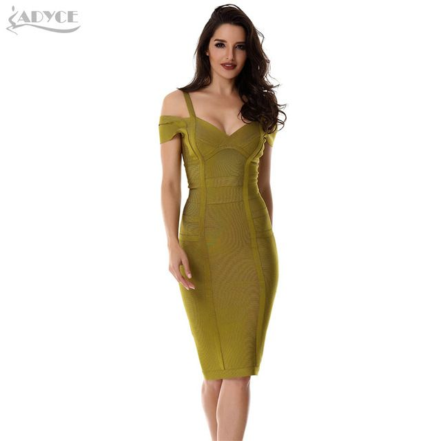 Get Cheap $29.16, Buy 2018 Spring Dress Women Party Bandage Dress Olive Green Off the Shoulder Knee-Length Stunning Celebrity Prom Sexy Bodycon Dress