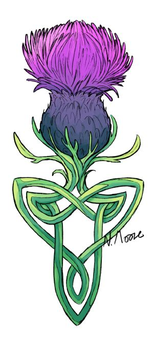 Back from my holidays! This is a tattoo design for my aunt who asked for a thistle with a celtic design. Not what I usually do but it was a neat challenge! I'm not sure how well that colour w...