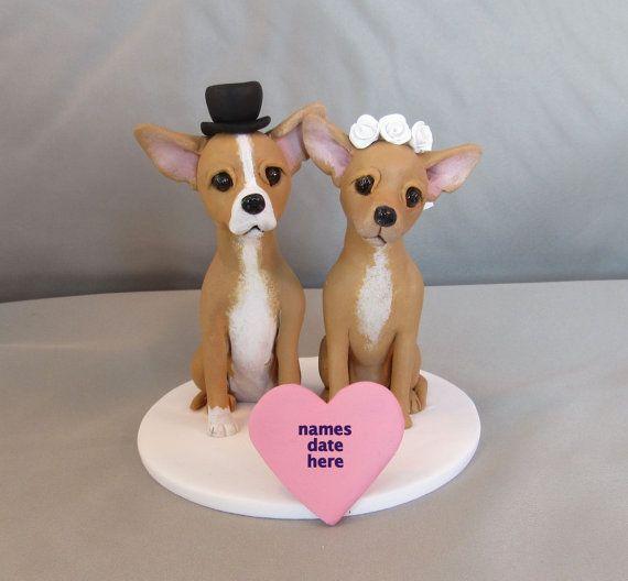 PARA venta arcilla Chihuahua perro novia por CustomDogCakeToppers