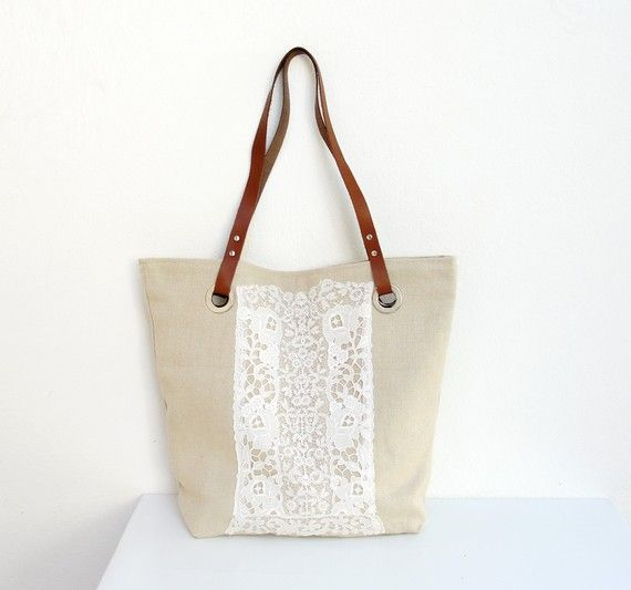 Live Laugh Love  Linen Leather and Antique Lace Tote by StarBags: 鞄 Bags, Totes Bags Materials, Bags Tots Bags Clutches, Bags Materials Mixed, Bags Cases Pouch, Diy Bags กระเป๋า, Sewing Bags, Tote Bags, Bags Accesories