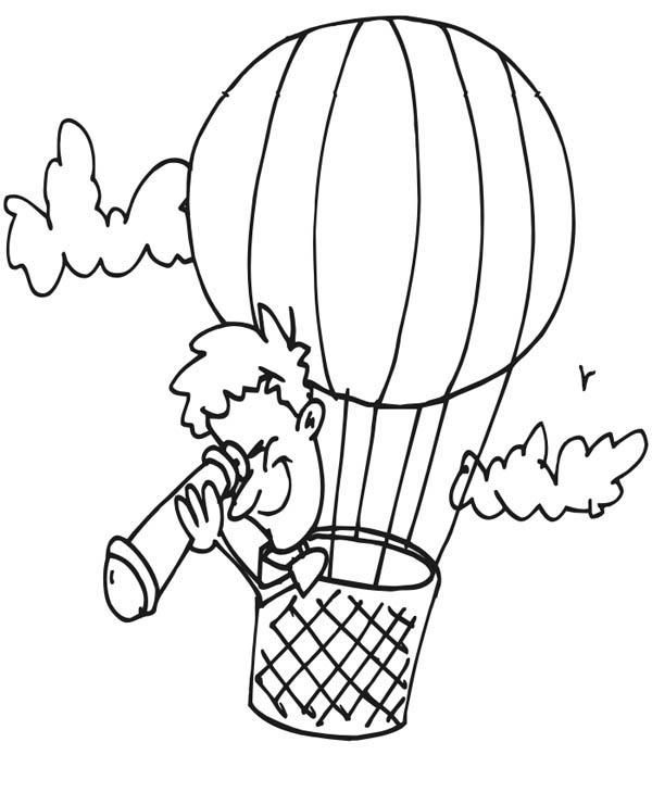 Looking Down Using Telescope On Hot Air Balloon Coloring Pages Coloring Pages Bunny Coloring Pages Mandala Coloring Pages