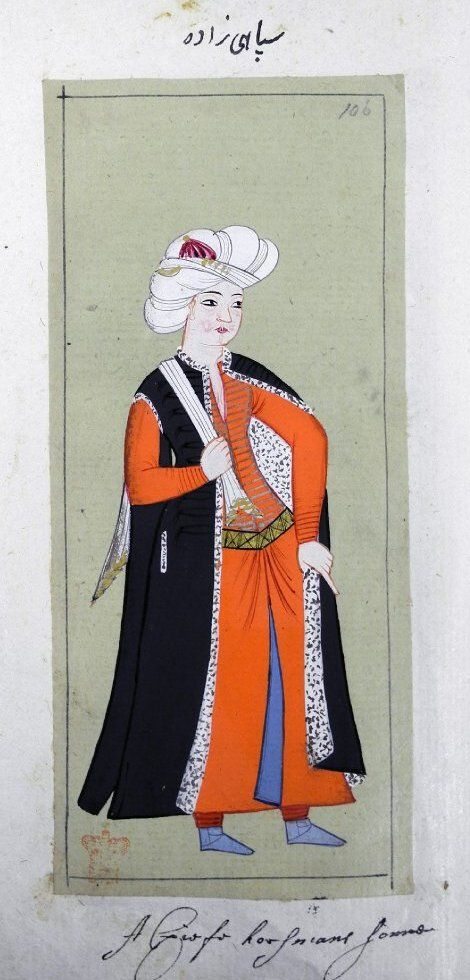 Sipahi zade, son of a sipahi (cavalryman). Fur-lined black kaftan, red robe and trousers, gold belt, blue boots. Turban wound round red cap.