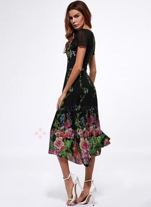 Vestidos elegante floral midi de manga curta