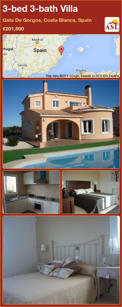 3-bed 3-bath Villa in Gata De Gorgos, Costa Blanca, Spain ►€201,500 #PropertyForSaleInSpain