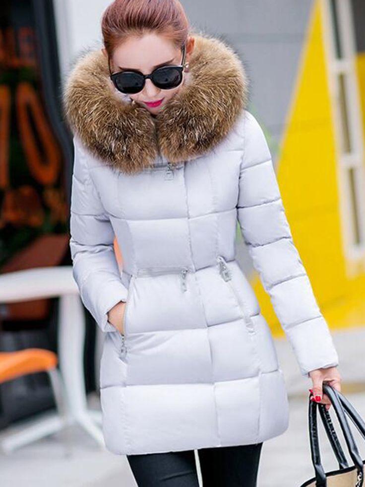 Faux Fur Collar Bloson Long Sleeve Overcoat 13015430 - Coats - Fancywe.Com
