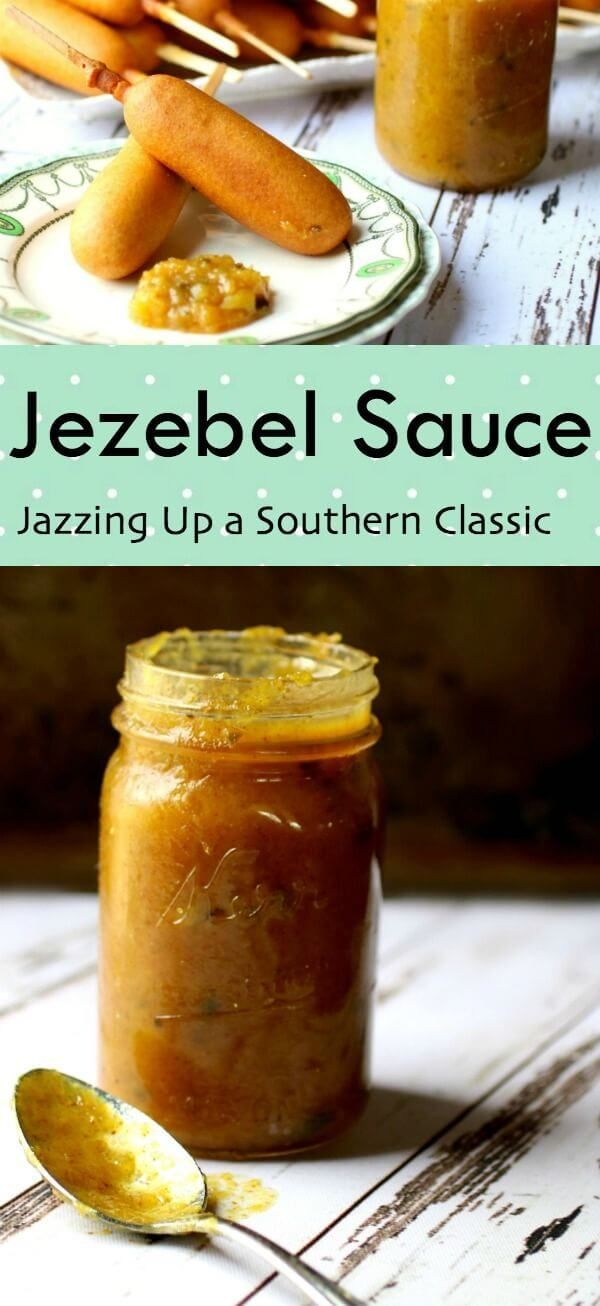 Classic Southern Jezebel sauce recipe is jazzed up with bourbon - perfect for dips, sandwiches, and meat glazes! #AD From RestlessChipotle.com #CornDogDipOff ##southernrecipes #jezebelsauce #dips