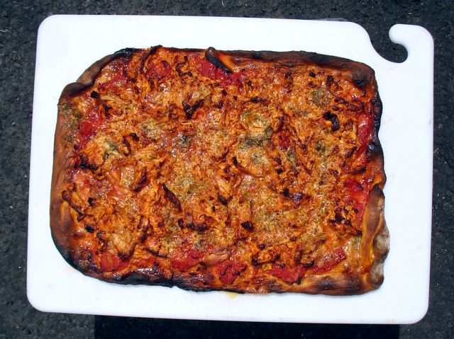 Monger Tripp made this awesome Buffalo chicken pizza for staffers with leftovers!